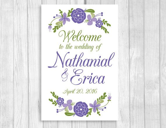 Personalized Large Printable Wedding, Bridal Shower or Baby Shower Welcome Sign - Lavender, Purple, White and Green Floral - Any Size - 8x10, 11x14, 18x24, 20x30