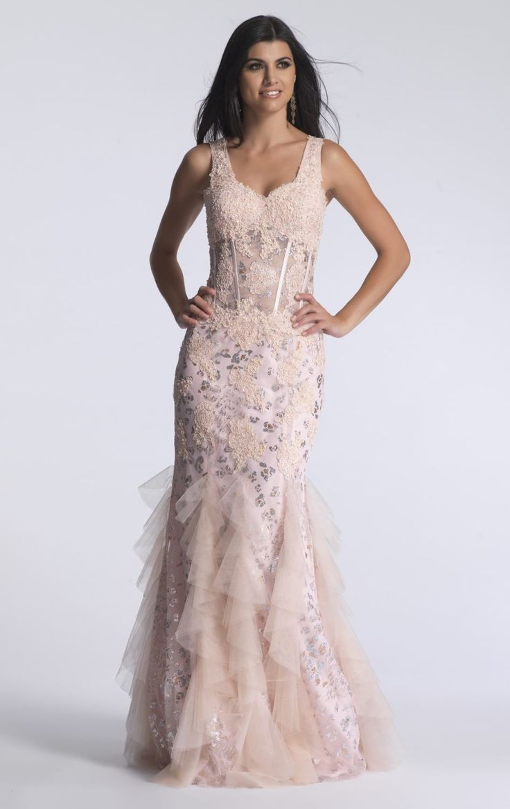 BB7120. New 'one of' exclusive Dave and Johnny ball gowns in store now. Blush soft mermaid with sweetheart neckline and mesh midriff. Take hold of your inner goddess in this romantic Dave and Johnny dress from New York. With its carefully arranged layers of lace and sensual silhouette, you will feel instantly enamoured. Perfect for a special event or modern wedding.