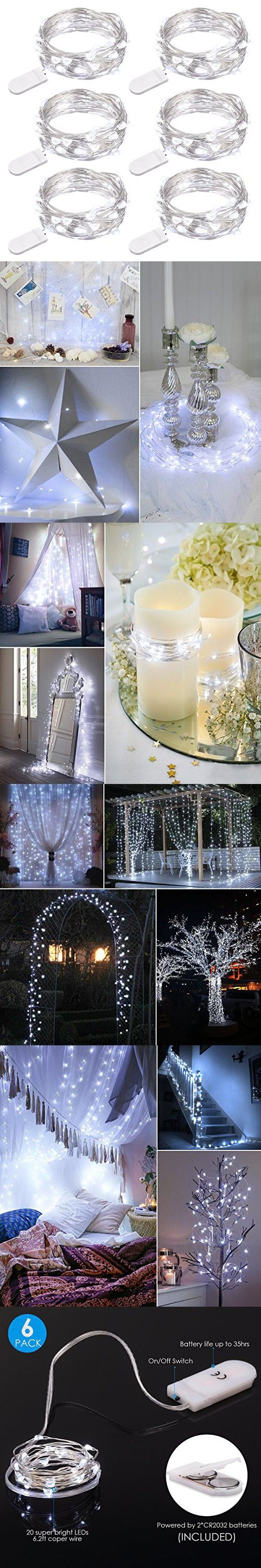 AMIR Fairy String Lights, 20 LED Copper Starry Lights, Indoor Outdoor Halloween String Lights, Battery Operated Copper Patio Wire Lights for Party, Table Decorations, Wedding (White - Pack of 6)