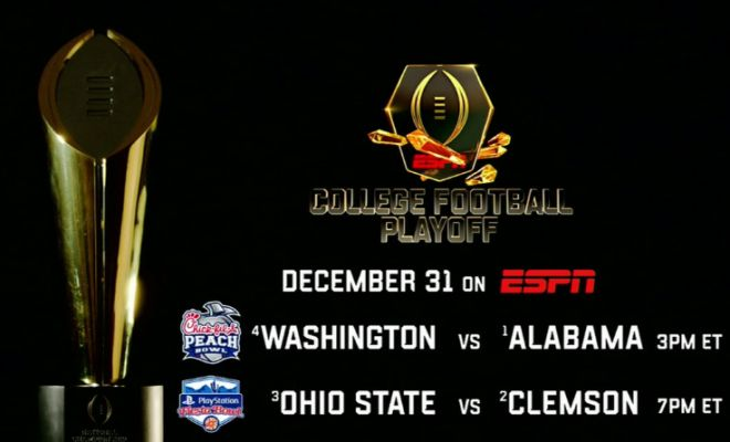 College Football Playoff: Semifinals on Dec. 31; National Championship on Jan. 9 New Year's Six: Capital One Orange Bowl, Goodyear Cotton Bowl Classic, Rose Bowl Game Presented by Northwestern Mutual and Allstate Sugar Bowl on ESPN, ESPN Deportes and ESPN Radio 2016-17 Bowl Season: Begins Dec. 17, Concludes Jan. 9; ESPN Radio Broadcasts 27 Games; ... Read More