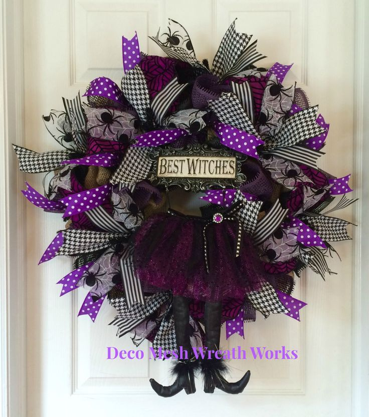 Witch Wreath, Burlap Witch Wreath, Witch Leg Wreath, Halloween Wreath, Spider Wreath, Paper Mesh Wreath, Deco Mesh Wreath, Halloween Decor by DecoMeshWreathWorks on Etsy