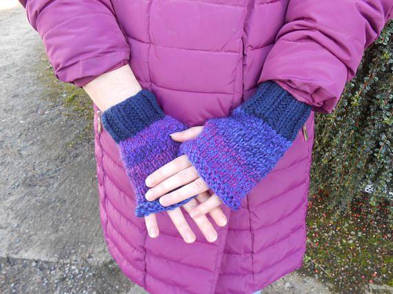 Fingerless Mittens. Gift for Her. Vegan gloves. Hand knit