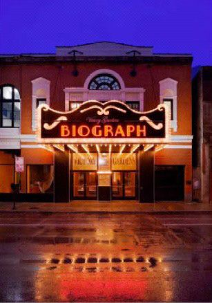 "The Biograph, open since 1914, Chicago's oldest theater. Famous for the place where Federal agents gunned down John Dillenger who was seeing a show with ""the Lady in Red""."