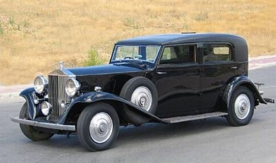This 1936 Rolls Royce Phantom III is reputed to be the first Phantom III to be delivered to the States. The coachwork is a five passenger Limousine by J.S.Inskip. Only about 24 P IIIS were sold in the States. It's been living in Southern Europe for the last five years at least and was in a car chase scene in Pan's Labyrinth. It's to be auctioned and is expected to fetch somewhere around £70,000 (February 2018)