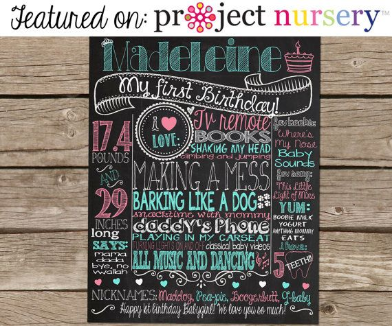 1st Birthday Chalkboard Poster Sign for Birthday Parties - Customized Custom Printable File -  Baby's First Birthday - Boy or Girl