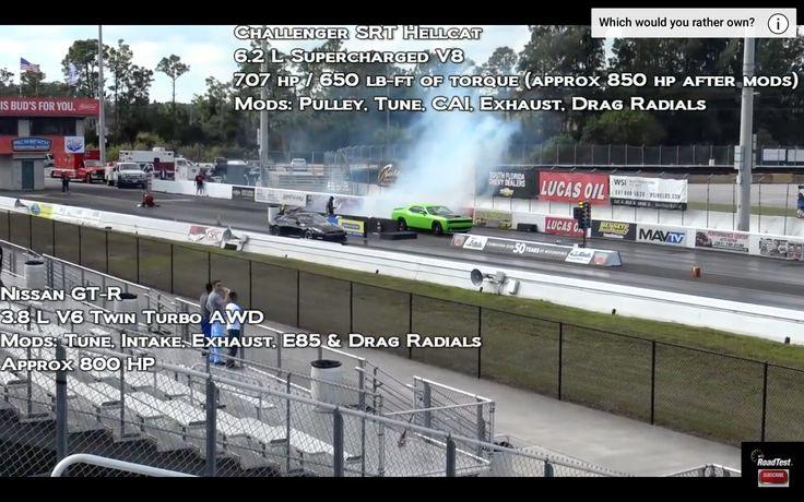 VIDEO: Challenger SRT Hellcat vs. 800hp Nissan GTR   1/4 Mile Racing