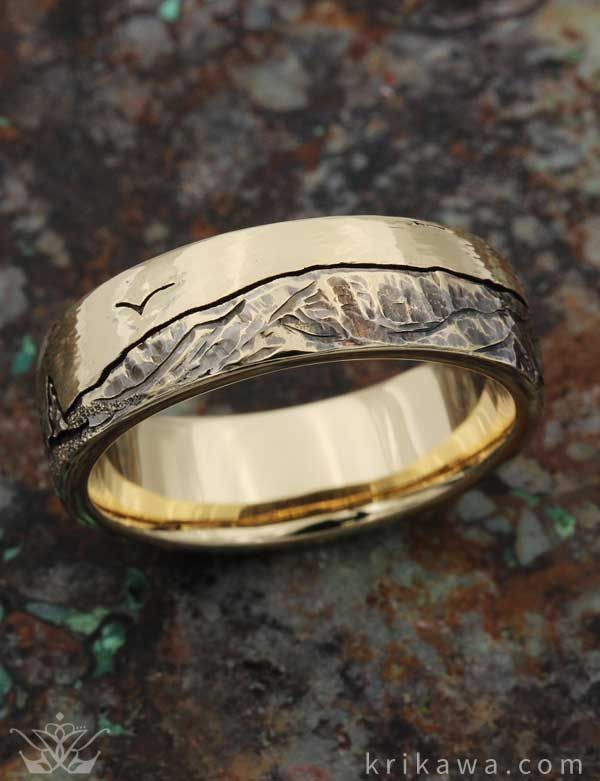 Mountain Wedding Band. Choose your favorite mountain range and we will hand-carve it into your wedding band! Mount Elbert is seen here in 14k yellow gold with a textured sky. Choose your mountain and metal and we will create your dream ring!