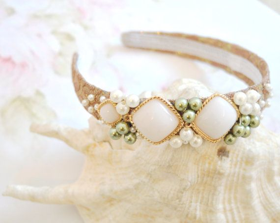 Pearls crown, ivory pearls crown, embroidered crown, pearls headband, beads headband, bridal white headband, lame headband, beige lame crown