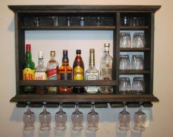 Mini Bar, Ebony Stain, 3'x2' Minimalist style, Wine rack