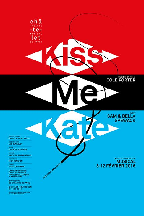 Poster by the french graphic designer Philippe Apeloig - Kiss me Kate - Châtelet…