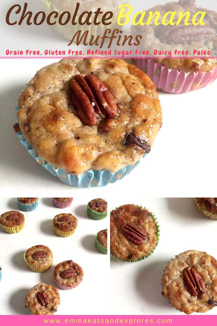 Chocolate Banana Muffins with Pecans by Emma Eats & Explores - Grainfree, Glutenfree, Dairyfree, Refined Sugarfree, Paleo, Low Carb
