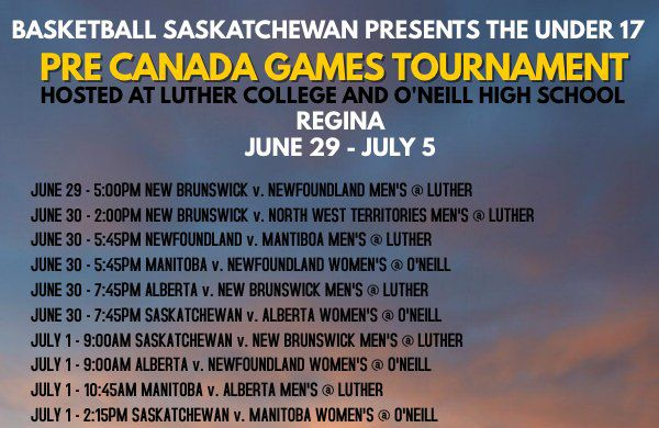 Manitoba 17U Provincial Teams off to Regina for Pre-Canada Games Tournament June 30 - July 2   Both of Manitoba's 17U Provincial Basketball Teams will be heading to Regina Saskatchewan this weekend in a Pre-Canada Games tournament hosted by Basketball Saskatchewan. This will be the first formal competition for the two teams to continue their preparation for the Canada Games hosted in Winnipeg later this summer. The tournament will include provincial and territorial teams from Alberta…