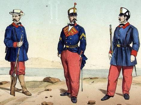 la primera fuerza militar española en los territorios de Guinea fue la 'Compañía de Infantería de Fernando Póo' (la actual isla de Bioko), que estuvo allí desde 1858 hasta que fue sustituida por fuerzas de Infantería de Narina. Y este era su uniforme según Clonard: