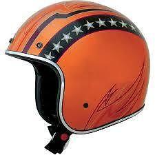 AFX FX-76 Orange Lines Bobber Helmet #AFX www.wilkinsharley.com