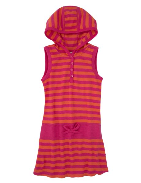 Made from 100% merino wool, this striped dress features a hood.