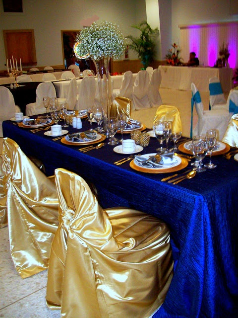 royal blue wedding decoration ideas blue and gold table setting 60th 7158