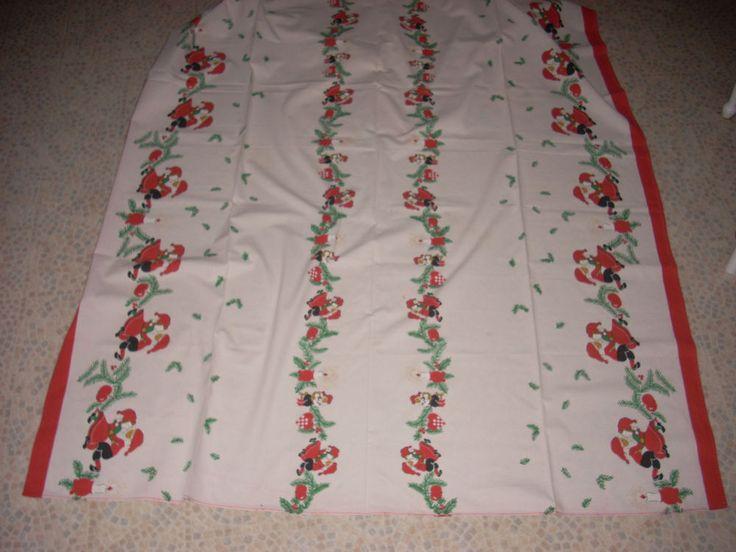 POLKA - Large Vintage Tablecloth, Christmas Elves dancing, Retro Jul Denmark