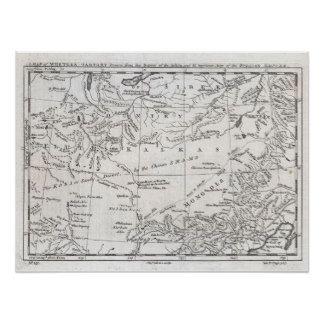 Map of Central Asia and Gobi Desert 1747 Poster