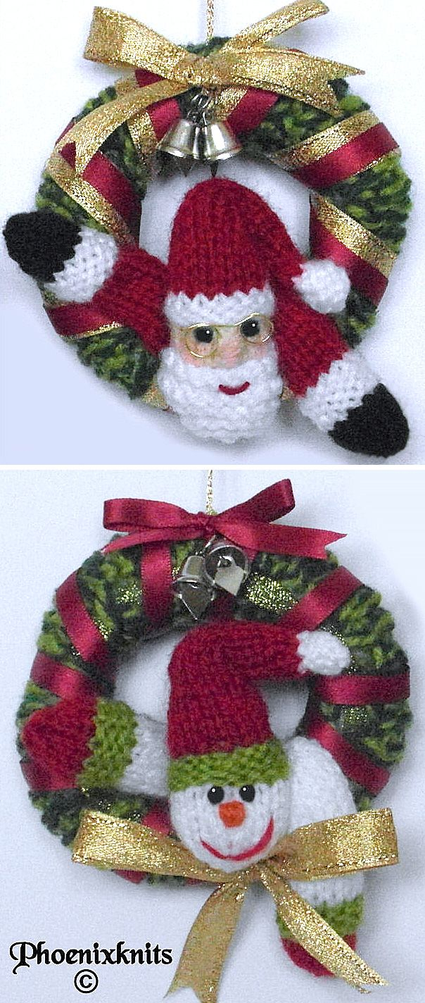 Free Knitting Pattern For Mini Christmas Wreath Ornaments Knitted Christmas Decorations Christmas Knitting Patterns Free Christmas Knitting Patterns