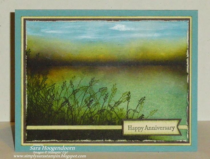 An anniversary card I made for my husband using one stamp from the set Wetlands and sponging the rest of the card except for the white clouds in the sky.  I did that using the direct to paper technique.