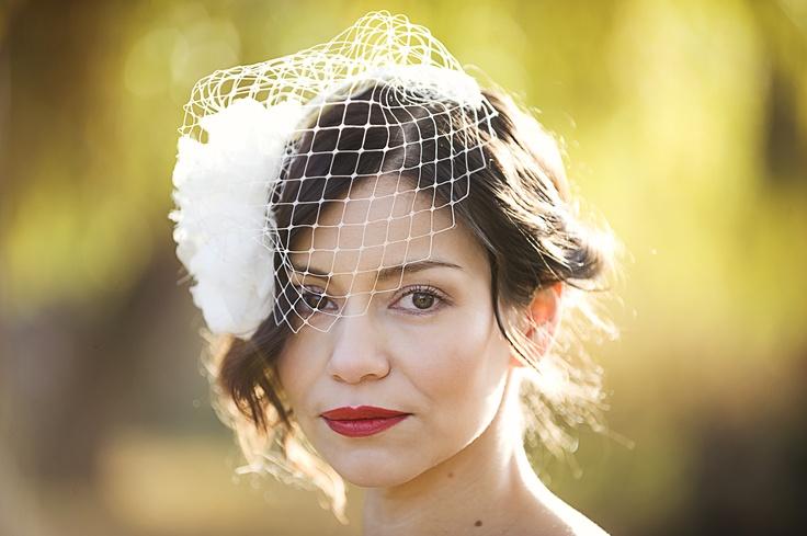 Lydia, hand blocked silk cocktail hat with detachable birdcage veil Photography: Elizabeth Lois