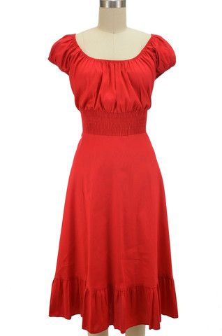 peasant top sun dress - solid red | le bomb shop