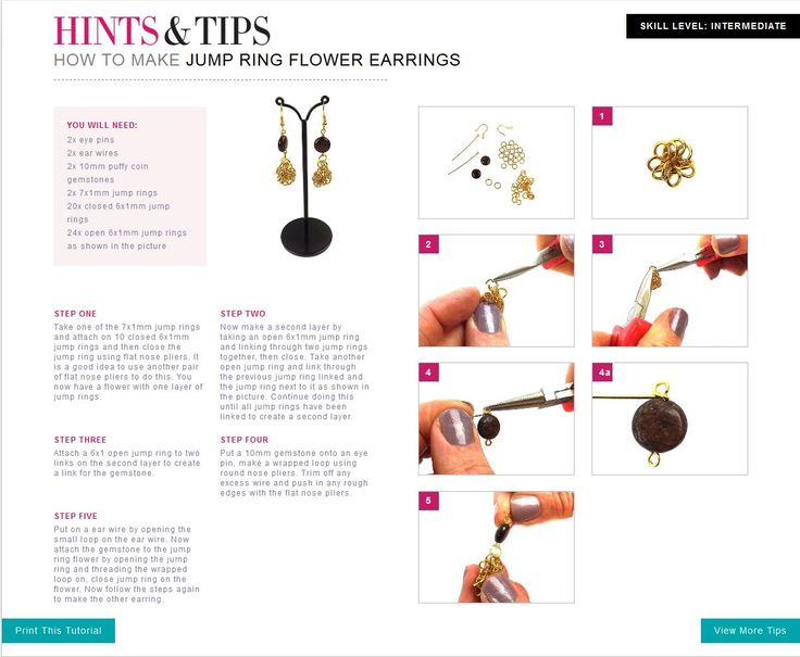 Learn how to make Jump Ring Flower Earrings with these simple steps.