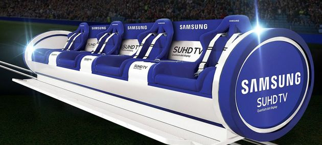 Virtual Reality has been the talk of the industry on how the technology can give fans the best experience possible, but in-stadium, Samsung has used a new technology to launch its Samsung Slider.