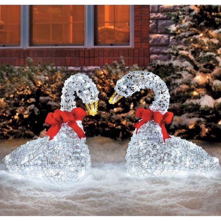 Sleek Christmas Outdoor Crystal Swan LED Lights Yard Art ...