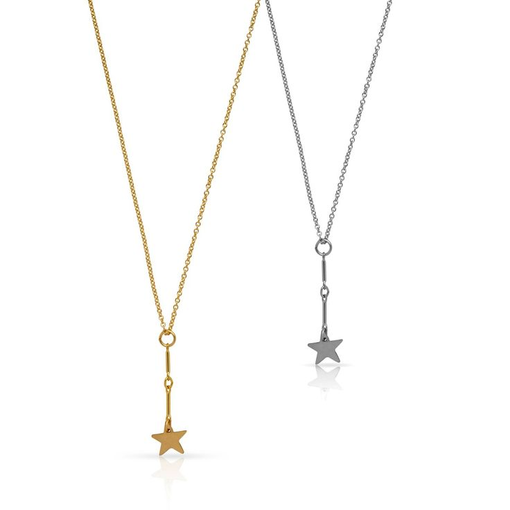 Style #212 Fine chain necklace featuring a 8mm star charm that hangs from a 25mm drop chain. Available in: Sterling Silver from $143 14kt Gold...