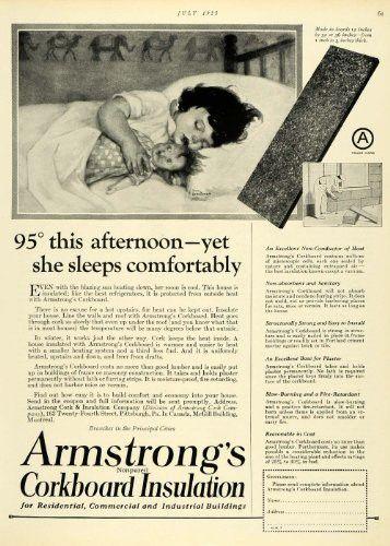 1925 Ad Armstrong's Corkboard Insulation Cute Child Sleeping Ann Brockman Home - Original Print Ad