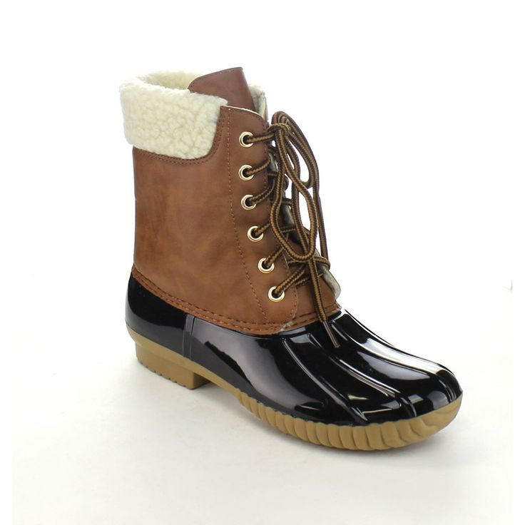 Axny Dylan-3 Women's Two-tone Lace-up Ankle Rain Duck Boots Half Size Small