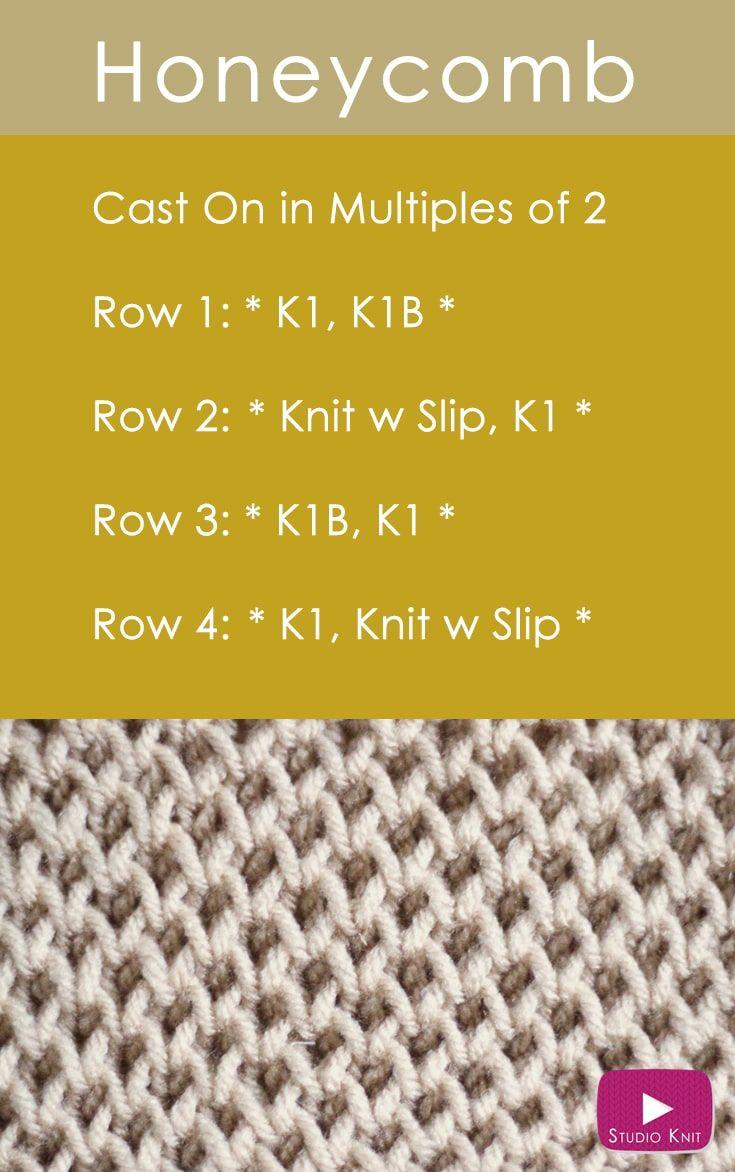 Como tricotar o padrão de ponto de brioche de favo de mel