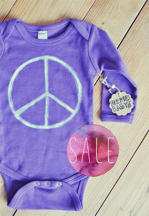 SALE Hippie Baby Peace bodysuit Purple onepiece Gender