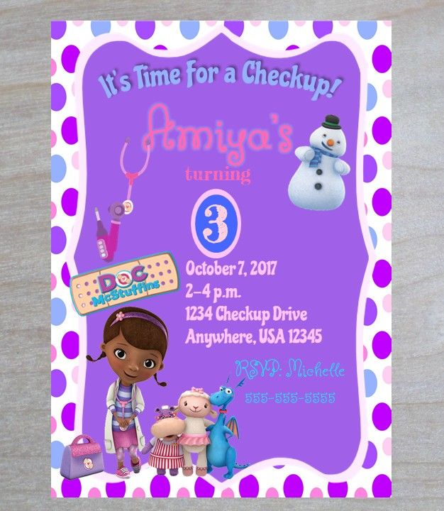 photo about Doc Mcstuffins Printable Invitations named Its Year For A Checkup! Document Mcstuffins Printable Invitation