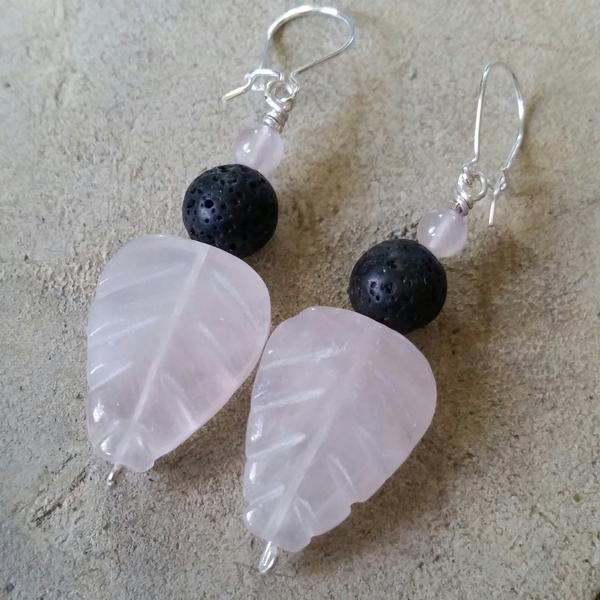 Essential oil diffuser earrings - pink Rose Quartz - leaf - Sterling S – AromaGemJewelry