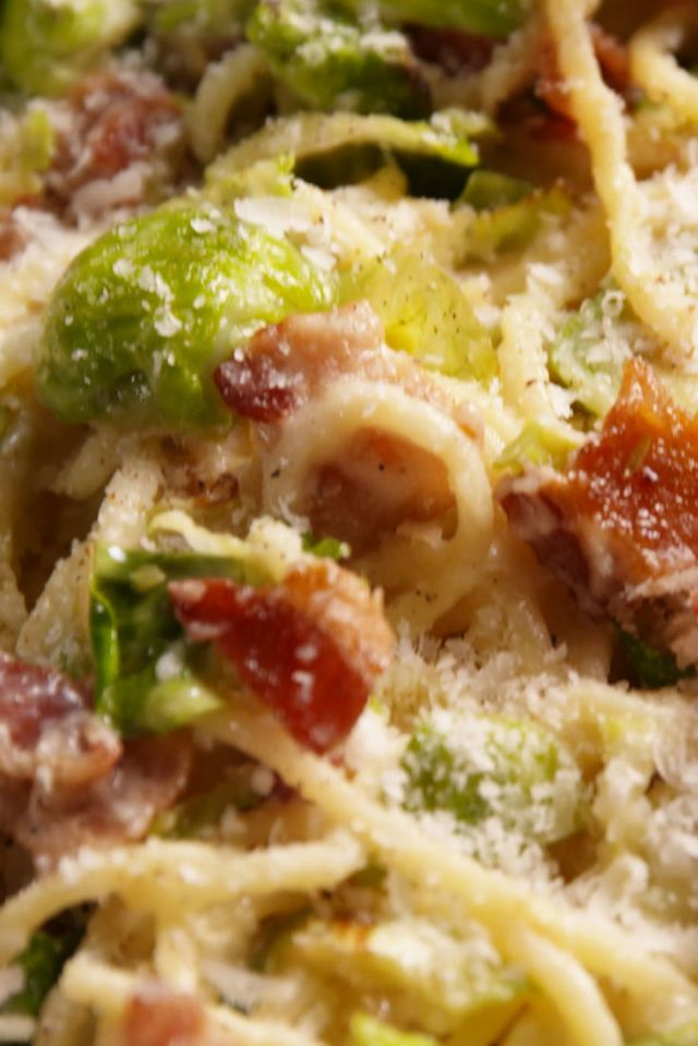 Bacon Brussels Sprouts Spaghetti
