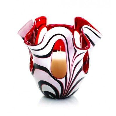 Newgrange Living Red Zebra Windows Pillar Candleholder <3