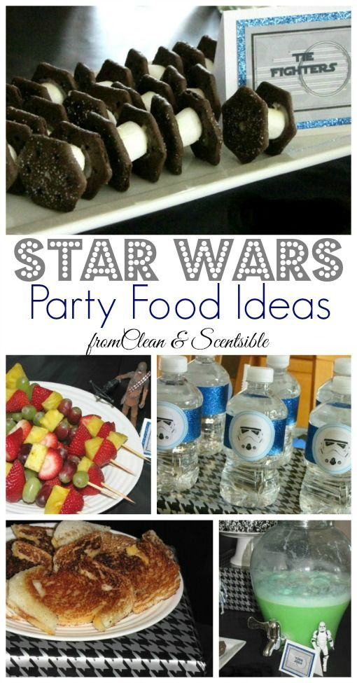 Lots of fun Star Wars party food ideas. Plus free printable food labels and water bottle tags.