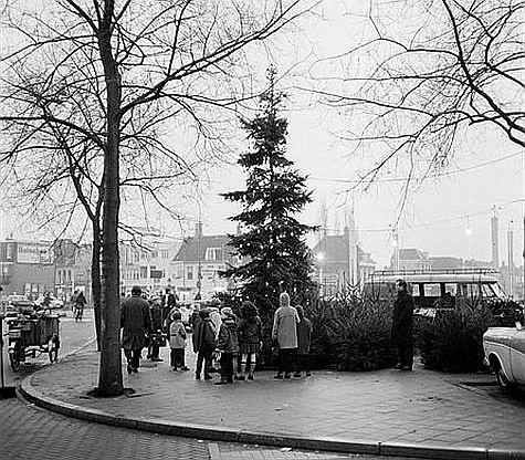 Kerst in Utrecht 1966: Kerstbomenverkoop op de Tolsteegbrug