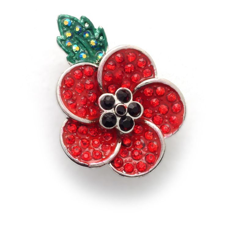 """Poppy 5 Petal Brooch. A wonderful new poppy brooch featuring five Pave crystal encrusted petals, stamens of jet and an emerald leaf, all encased in a polished metal base. A popular piece of Remembrance jewellery, the brooch is presented in a box which includes the words oh John McCrae's WWl poem """"In Flanders fields the poppies blow, between the crosses, row on row."""""""
