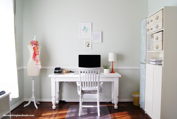 Office Makeover | Oh Everything Handmade I used a Behr color named Sage Tint PPL-47 for the walls, but had an ACE guy mix up the same color for me with Benjamin Moore paint,