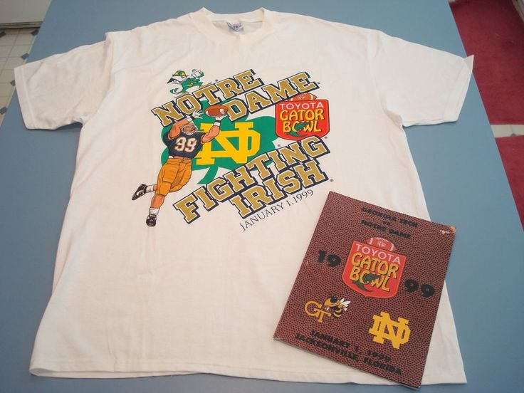 Notre Dame Georgia Tech 1998-99 Gator Bowl Vintage Hanes BEEFY-T Shirt & Program #HANESBEEFYT #NotreDameFightingIrish