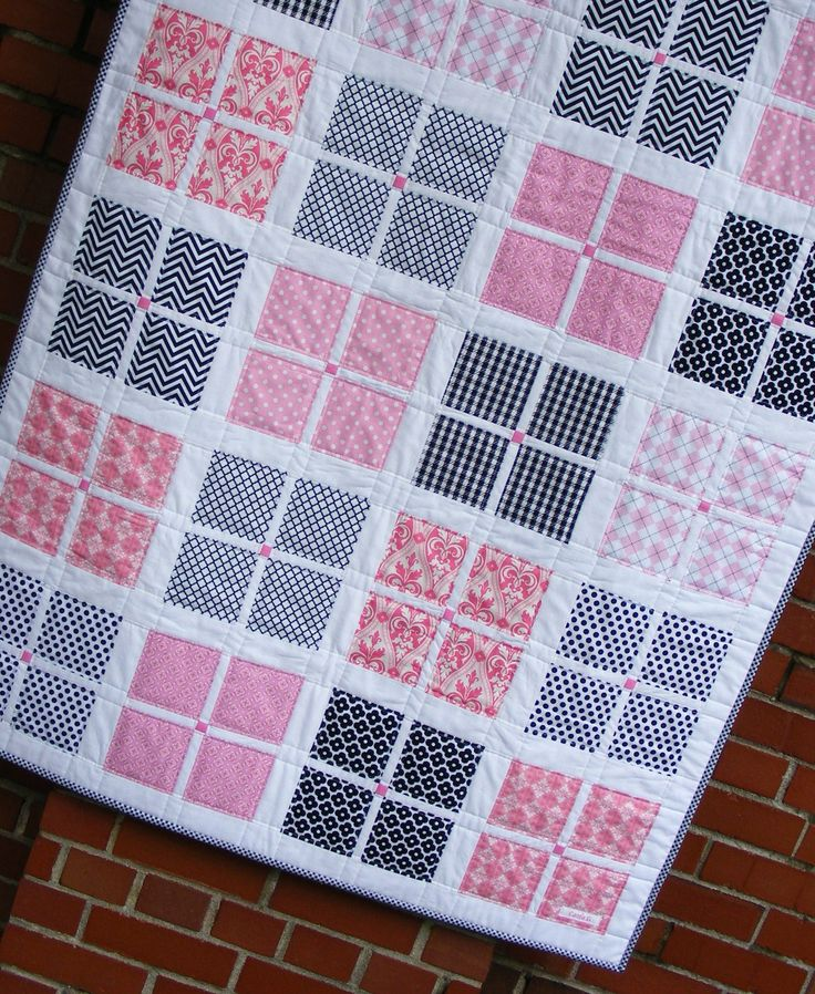 Pink and Black Girl Quilt with Ann Kelle Chevrons, Argyle and Scottie Dogs. $125.00, via Etsy.