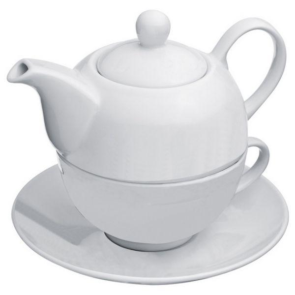 MAC 88854 2-in-1 porcelain tea set. 2-in-1 porcelain tea set.    Product size 15,8 x 15,8 x 14,5   Branding size 3 x 5   Description 2-in-1 porcelain tea set with 400ml tea pot, 200ml cup and saucer.