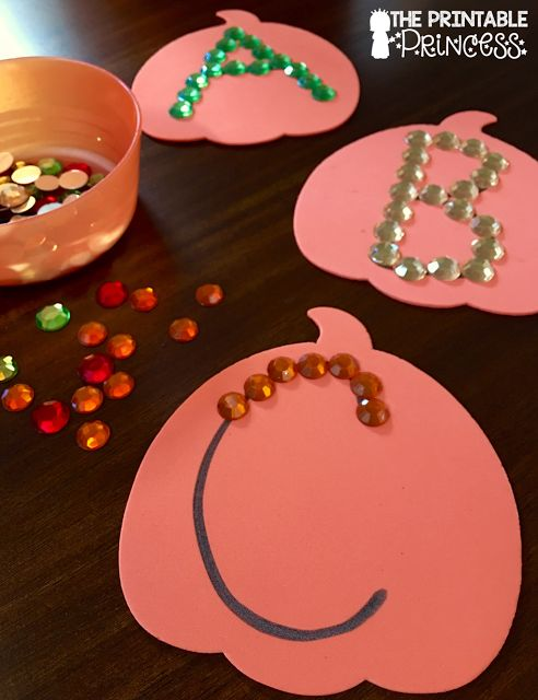 My kids LOVE anything that sparkles and shines so this is perfect! Write letters on large pumpkins (or any shape!), have students use craft gems to make the letter.