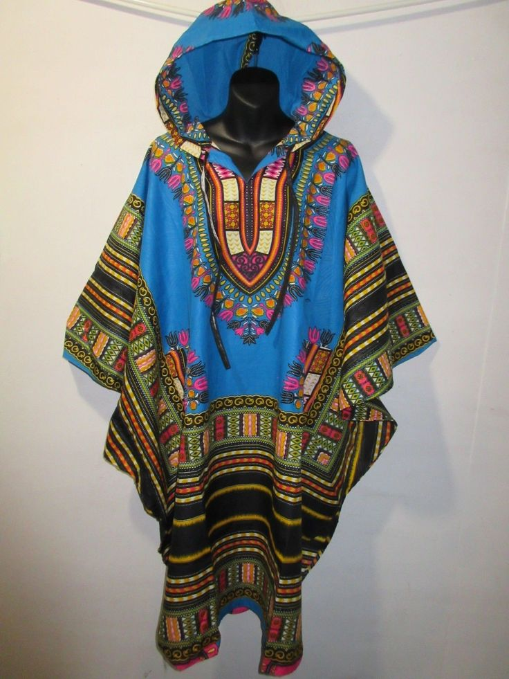 Top /Dress 3X 4X Plus Hoodie Blue Pink African Dashiki Tribal With Hood Nwt G825