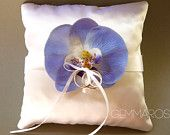 Ring Bearer Pillow with Blue Orchid - something blue