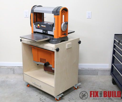Great for a smaller workshop this flip top tool stand can hold benchtop tools including planers, mitersaws, sanders, drill presses and more.