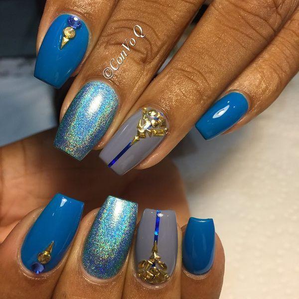 Nette blaue Nagel-Kunst-Entwürfe für alle Gelegenheiten